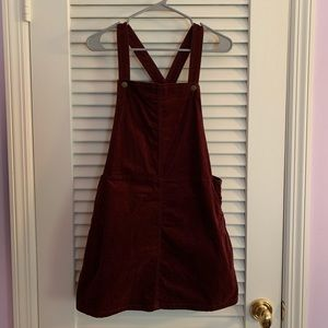 Fall Abound Maroon Pinafore Overall Dress